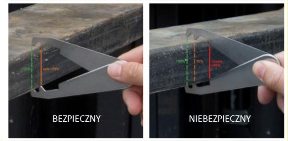 Pomiar wideł do wózków widłowych - bezpieczny_niebezpieczny